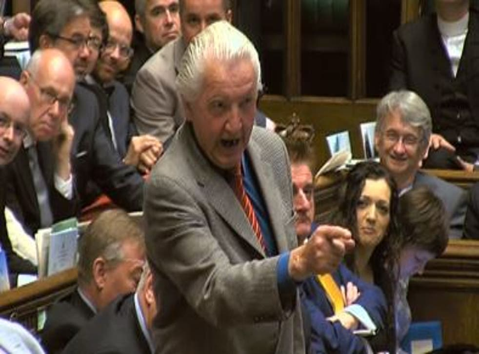 Dennis Skinner asks a typically aggressive question at Prime Minister's Questions
