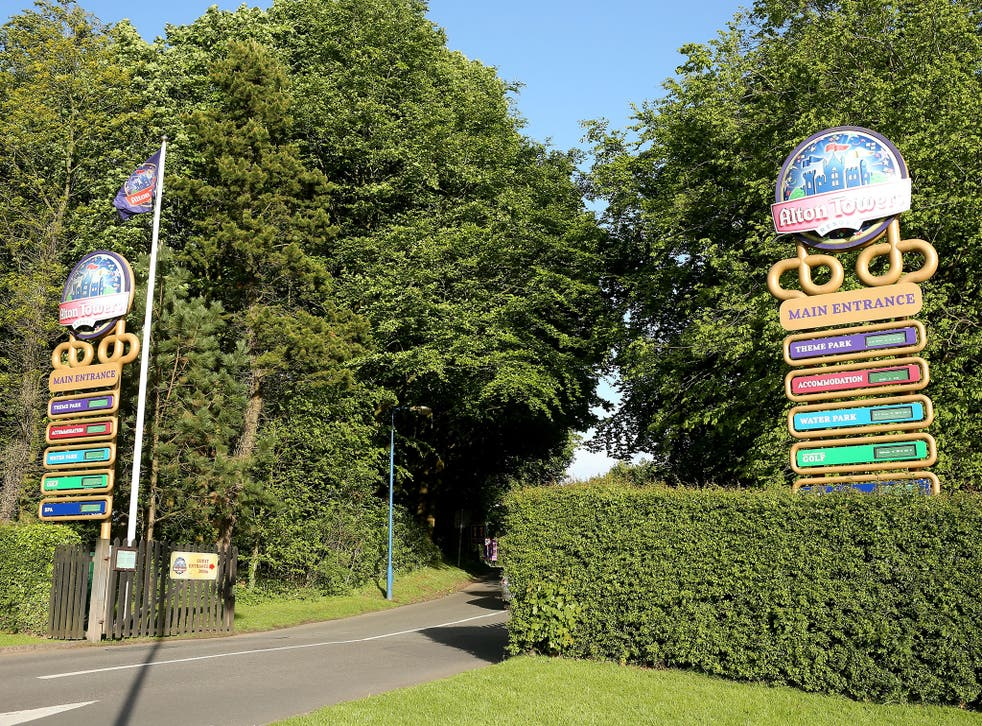 The entrance to Alton Towers, were 80 people were trapped on a ride