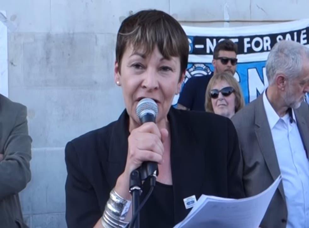 Caroline Lucas speaks a Greek solidarity rally in London