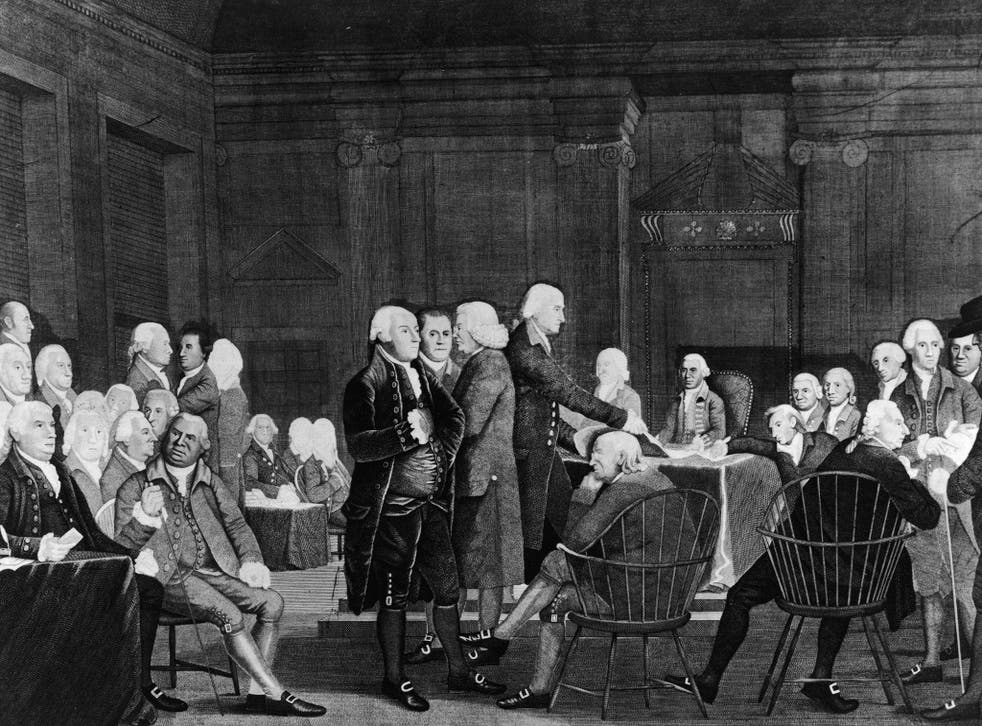 The Founding Fathers during the American Declaration of Independence