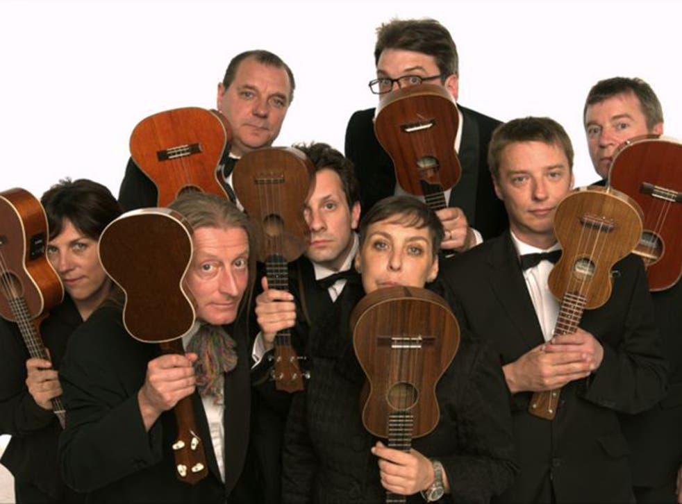 The Ukulele Orchestra of Great Britain, above, felt the United Kingdom Ukulele Orchestra copied their act