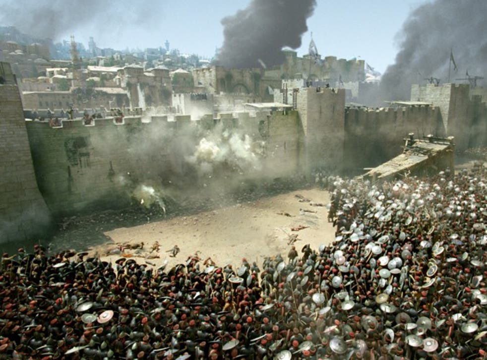 Saracens lay siege to Jerusalem in the film 'Kingdom of God'. The acts of the Christian crusaders in the name of religion often matched those of Isis