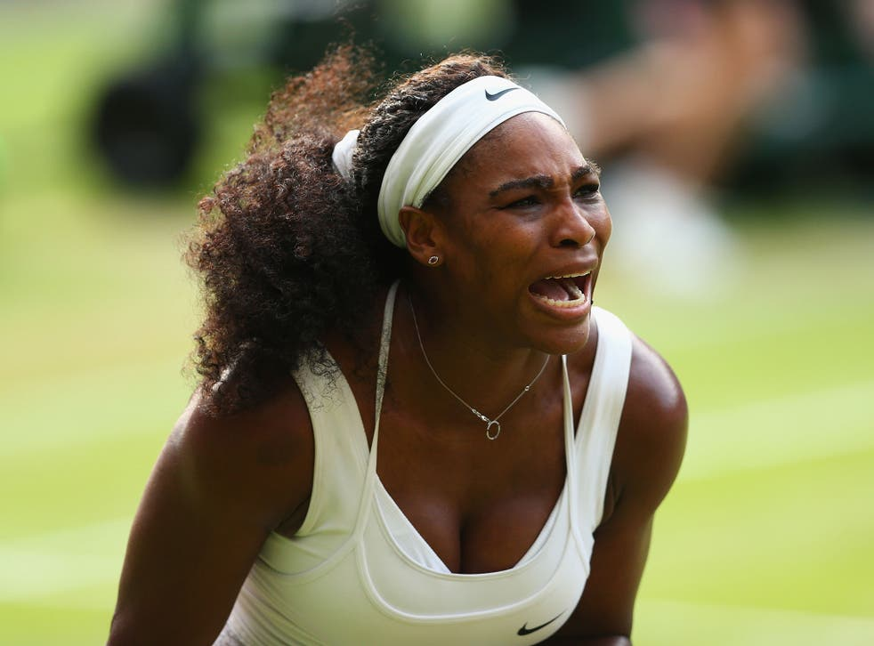 Serena Williams reacts to losing a point