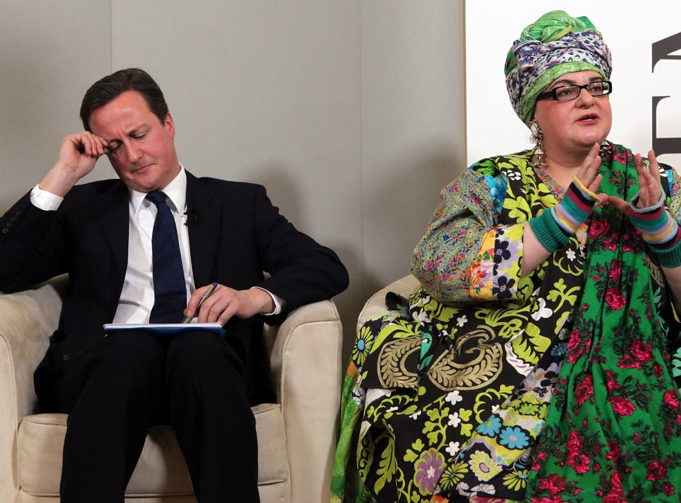 """Camila Batmanghelidjh attending a Demos think tank event with David Cameron in 2010. The founder of Kids Company has accused politicians of playing """"ugly Westminster games"""" (Ge"""
