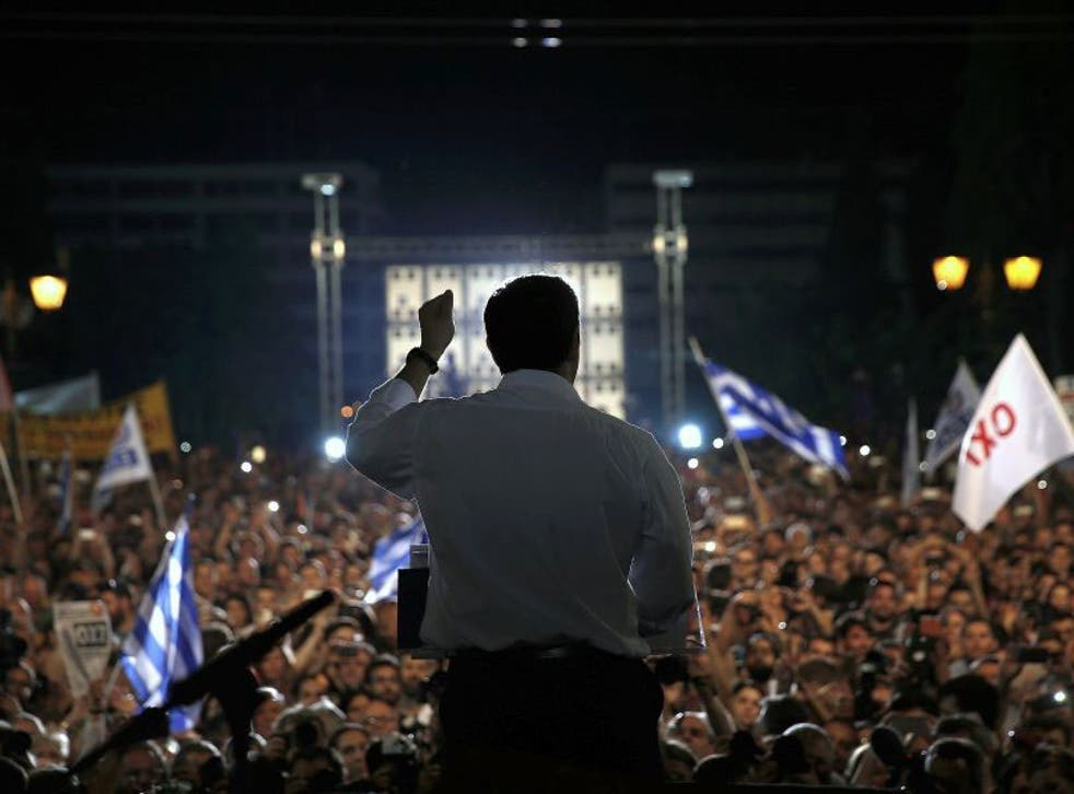 Greek Prime Minister Alexis Tsipras addresses a crowd of 25,000 'No' supporters in Athens' Syntagma Square