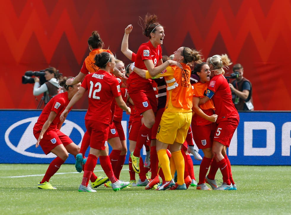 England's women celebrate after their 3rd place play-off win against Germany