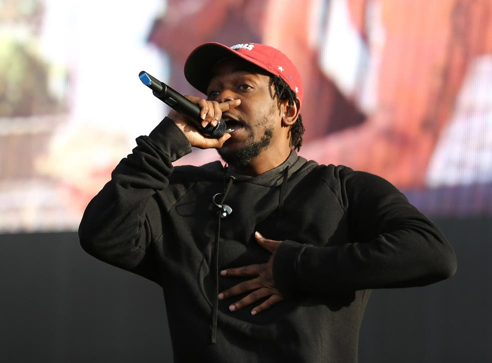 Kendrick Lamar on stage at Wireless 2015