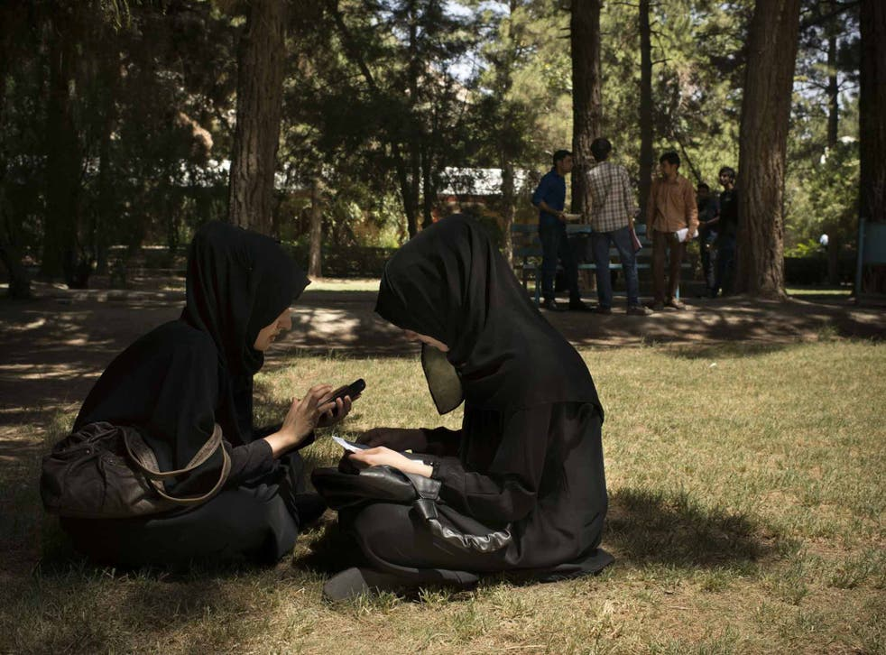 A break between exams on the campus of Kabul University