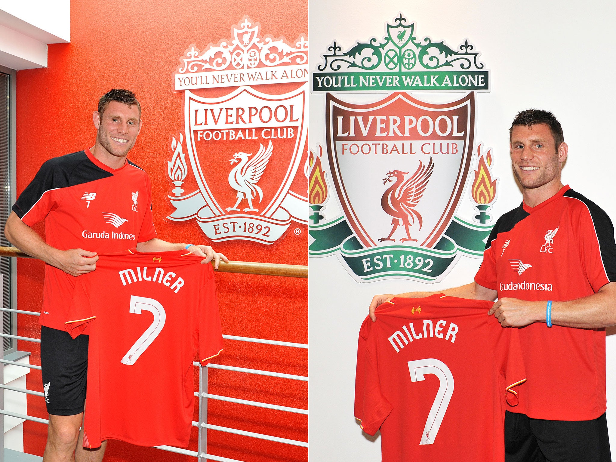 421e3b065 ... James Milner officially unveiled by Liverpool - complete with number 7  jersey The Independent ...