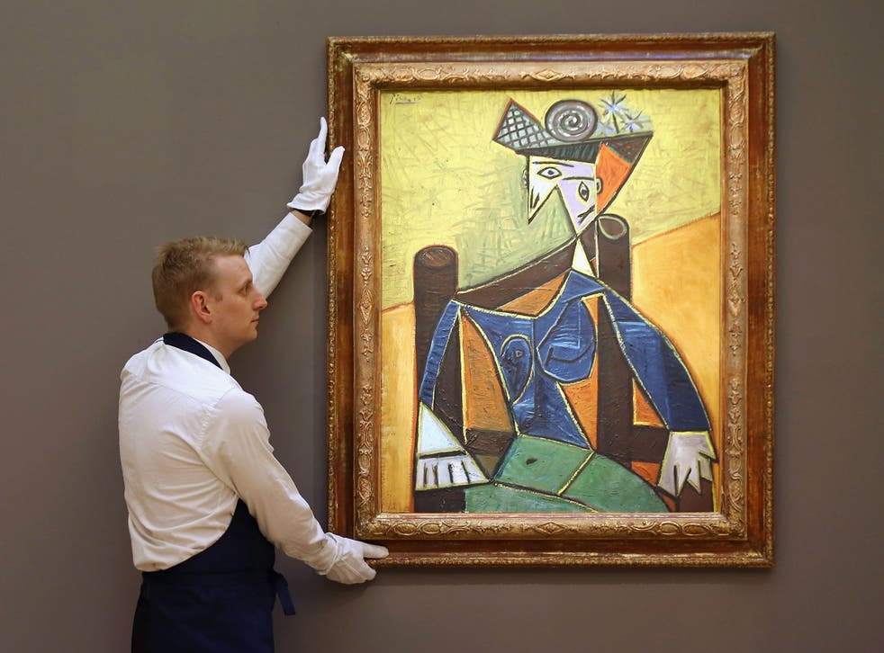 A (genuine) Picasso at Christie's auction house in London, shortly before it sold for more than $18 million