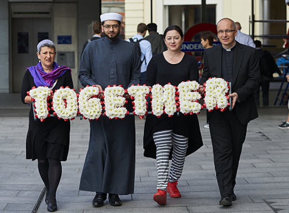 Rabbi Laura Janner-Klausner, Imam Qari Asim, 7/7 survivor Gill Hicks and Reverend Bertrand Olivier walk together to prommote religious unity before 7/7 anniversary