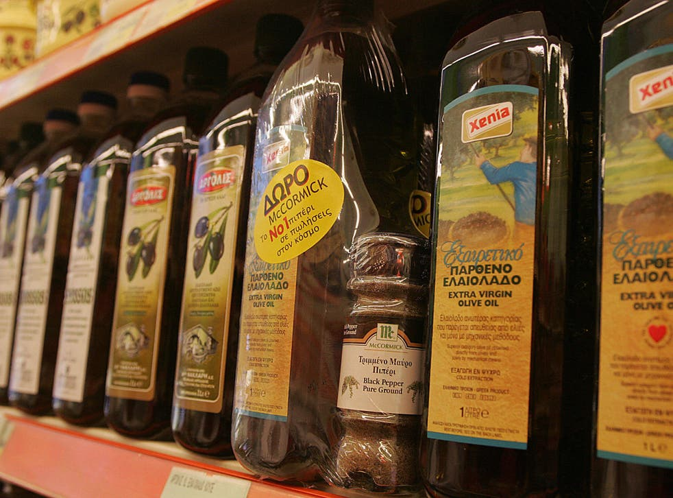 Olive oil on display in an Athens supermarket. File photo