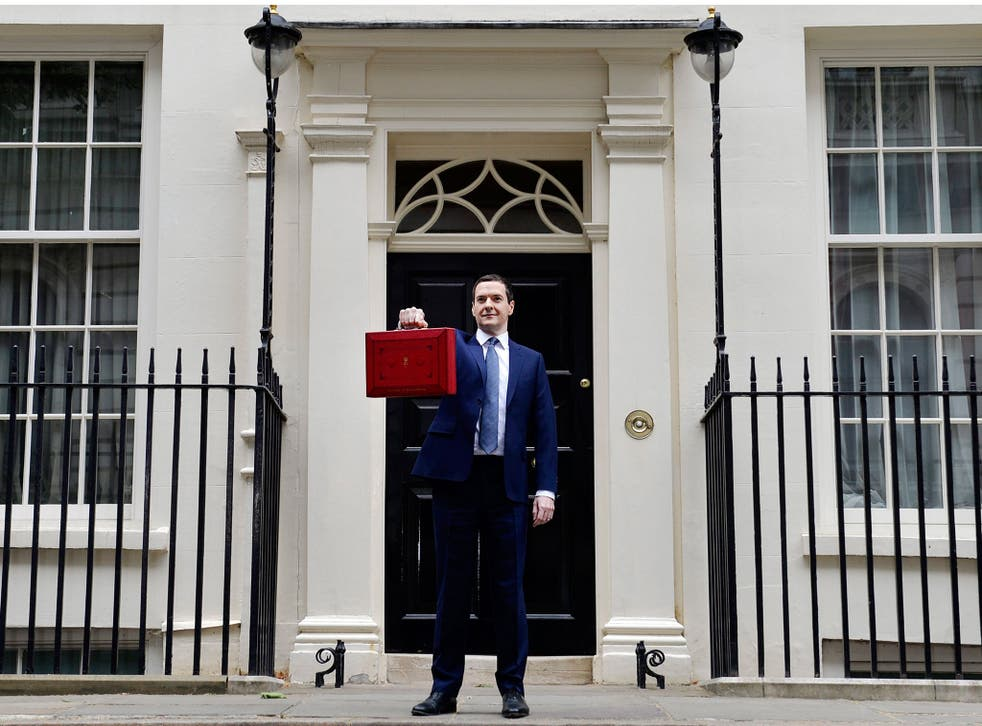 George Osborne holds up the red briefcase outside No 11 Downing Street prior to announcing his budget to parliament in London