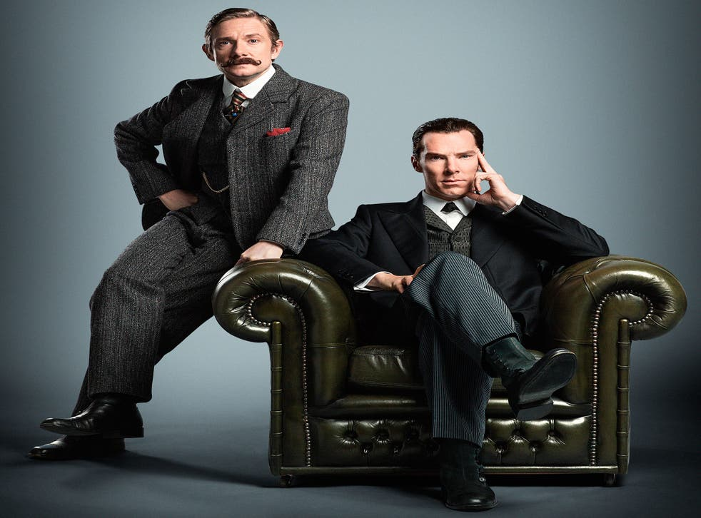 Martin Freeman and Benedict Cumberbatch in period costume as Dr Watson and Sherlock Holmes for the new Sherlock special