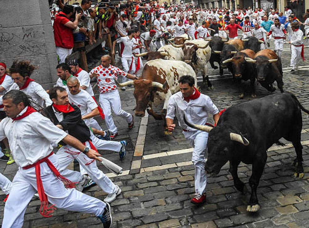 The 2015 Running of the Bulls in Pamplona, Spain
