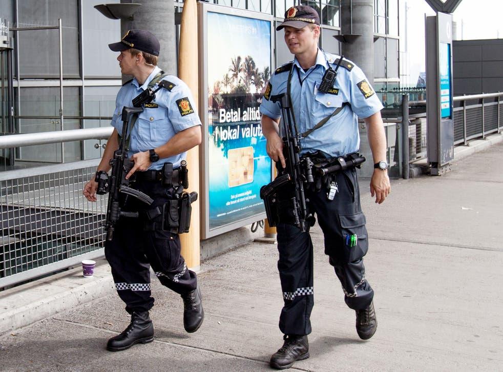 Armed police in Norway patrol Oslo Airport