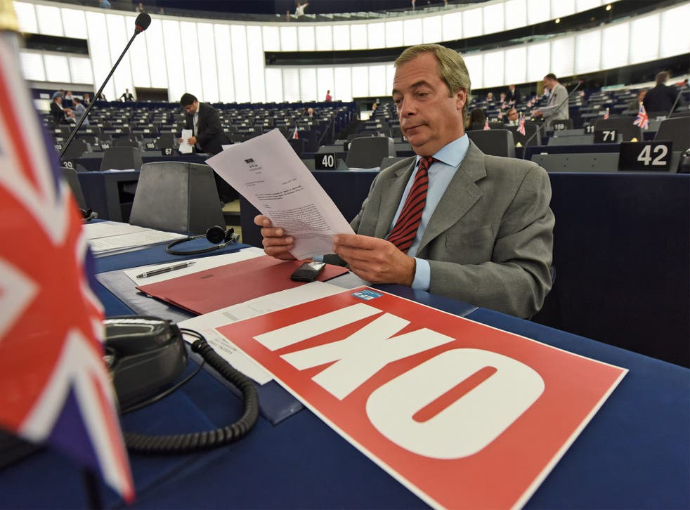 Nigel Farage at the European Parliament, where he was one of a number of fringe figures to applaud Tsipras