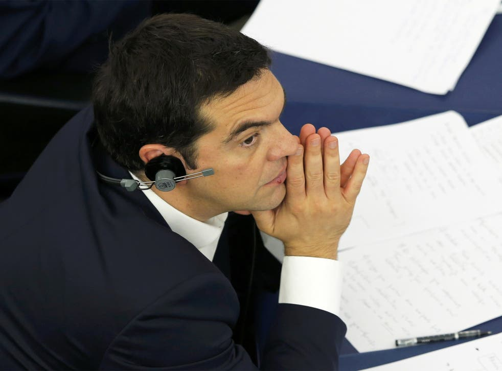Greek Prime Minister Alexis Tsipras attends a debate at the European Parliament in Strasbourg on Wednesday