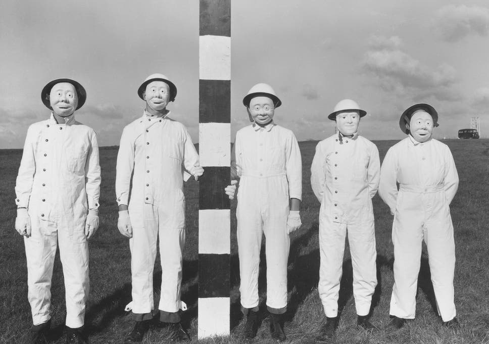 Field trial personnel in 1956. The masks had to be worn to allow the collection of proxy warfare substances that had been sprayed from aircraft