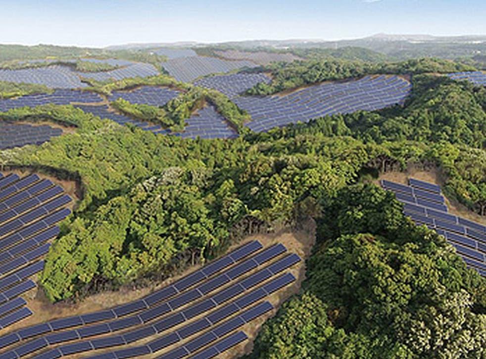 An artist's impression of a planned massive solar farm in Japan's Kagoshima prefecture