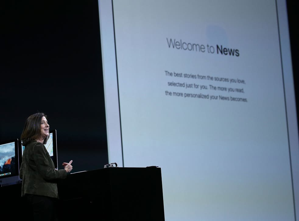 Susan Prescott, Apple vice president of Product Management and Marketing, speaks during the Apple WWDC on June 8, 2015 in San Francisco, California