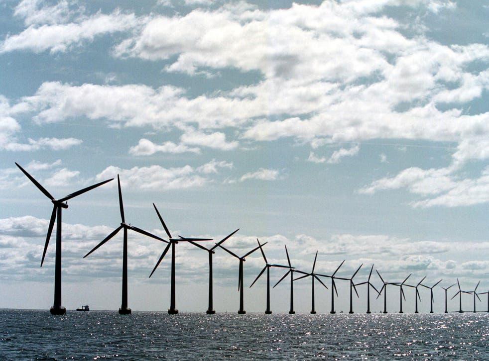 Middelgrunden Windmill Farm, two miles from Copenhagen harbour in Denmark