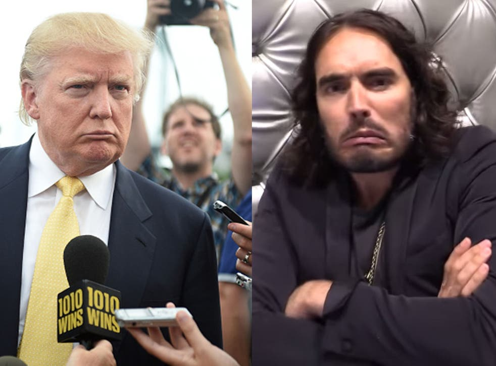 Comedian Russell Brand does impersonation of Donald Trump