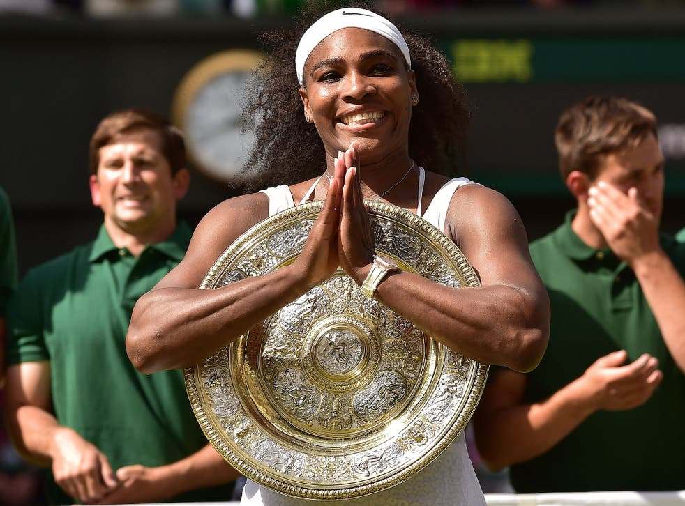 Serena Williams with the Wimbledon title