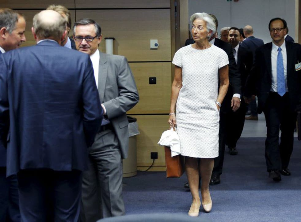 IMF Managing Director Christine Lagarde arriving to attend the eurozone finance ministers meeting in Brussels on Saturday
