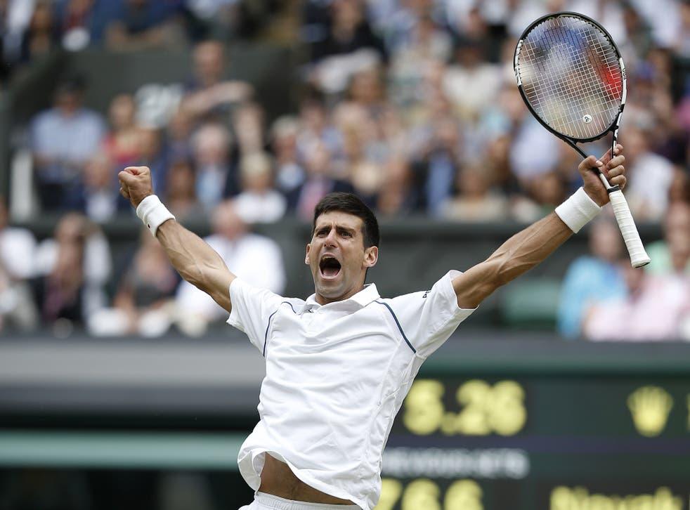 Novak Djokovic celebrates winning Wimbledon