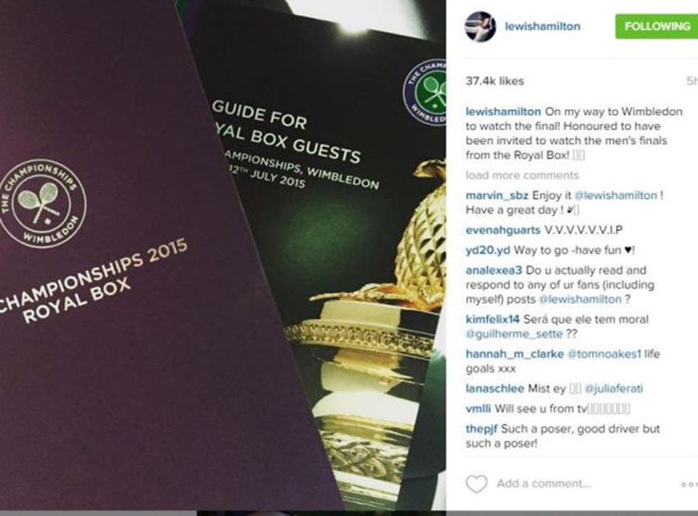 Lewis Hamilton posted a photograph of his Wimbledon invitation on Instagram