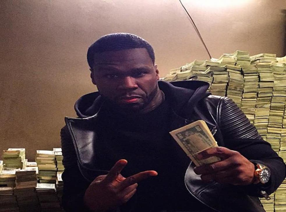 A picture 50 cent posted of himself in front of a mountain of cash on Instagram a few months back