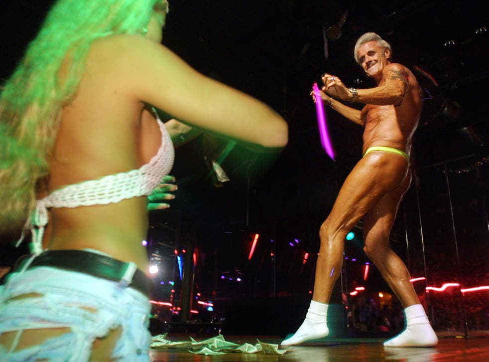 60-year-old Bernie Barker takes part in a stripping competition in Florida in 2001