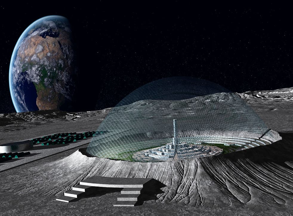 Concept art for a domed lunar city in one of the Moon's craters