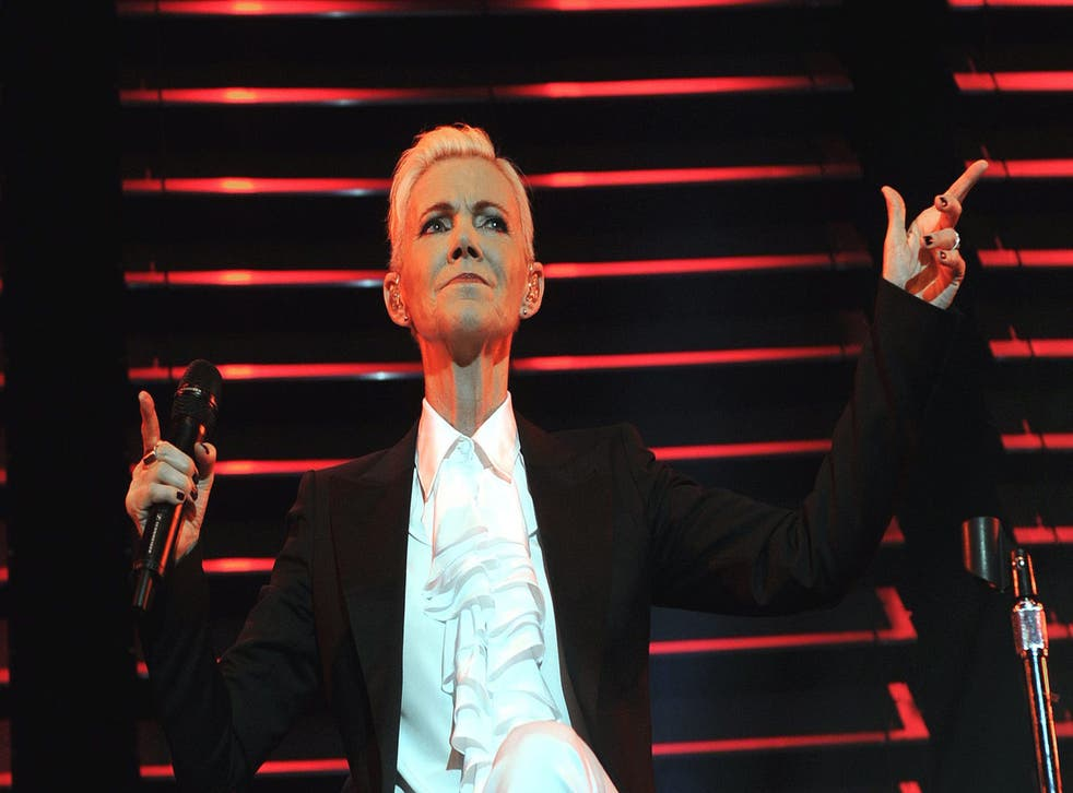 Marie Fredriksson of the Swedish band Roxette performs on stage
