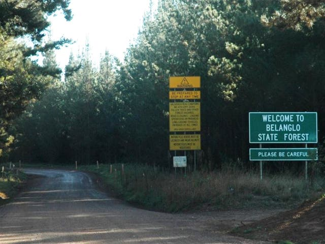 The entrance to Belanglo State Forest in New South Wales