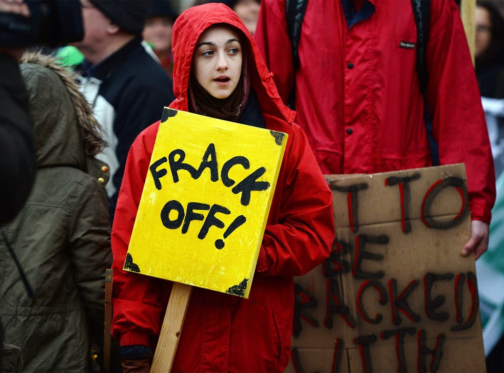 An anti-fracking protest in Preston earlier this year