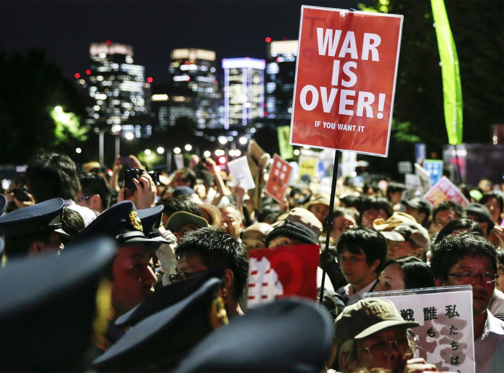 Protesters outside Japan's parliament in Tokyo