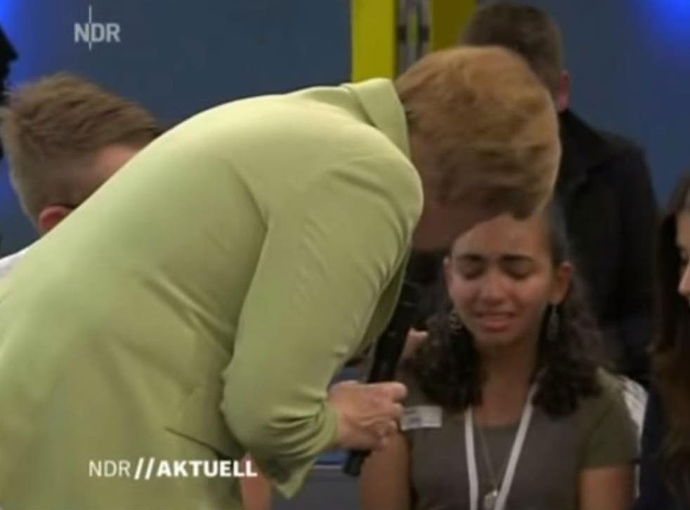Angela Merkel failed to comfort the girl, who said she faced being deported with her family