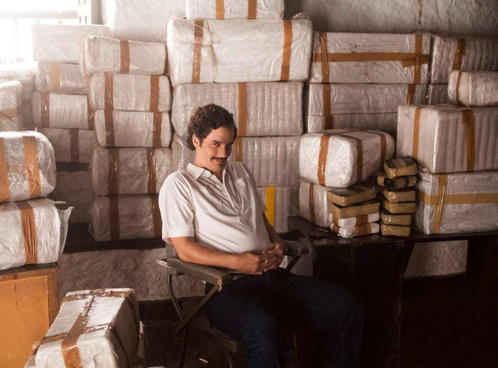 "Wagner Moura as Pablo Escobar in the Netflix Original Series ""Narcos."""