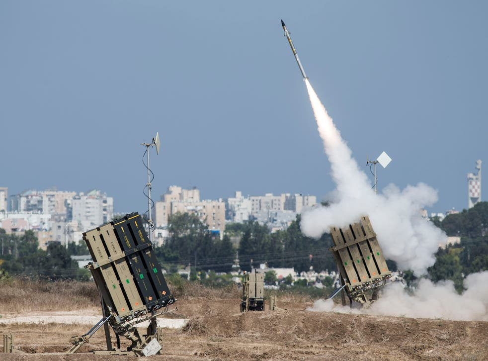 Iran's Iron Dome air-defense system fires to intercept a rocket over the city of Ashdod in July 2014