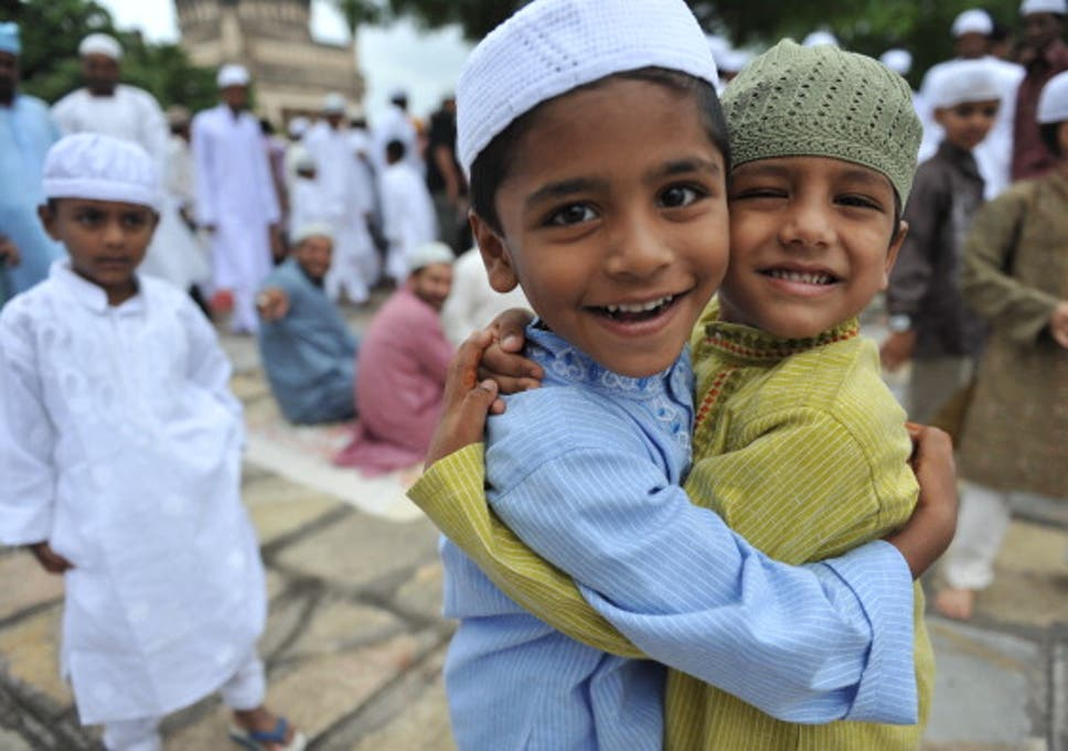 Muslim Boys Greet One Another After Eid Prayers At The Qutub Shahi Tomb In Hyderabad