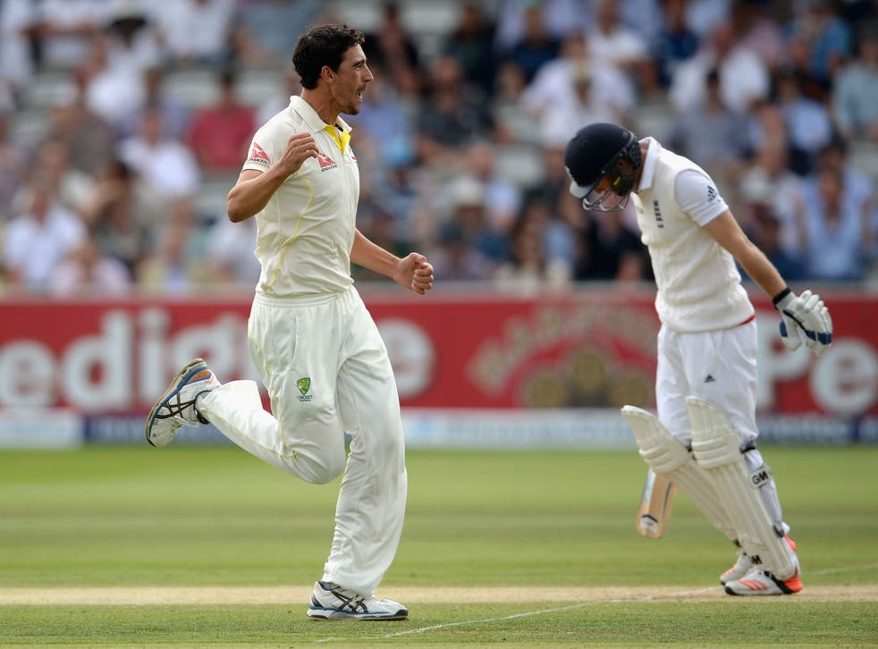 Mitchell Star celebrates the wicket of Adam Lyth with the second ball of the innings