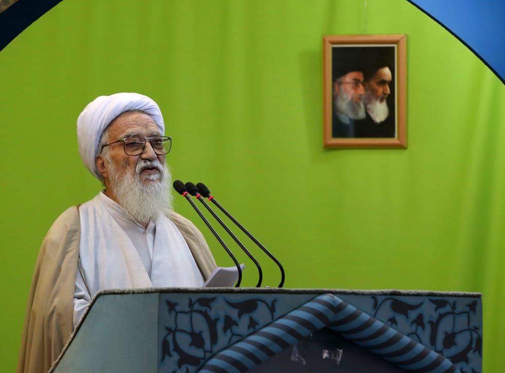Iranian conservative cleric Ayatollah Mohammad Ali Movahedi Kermani delivers his sermon during Friday prayer service at the Tehran University campus