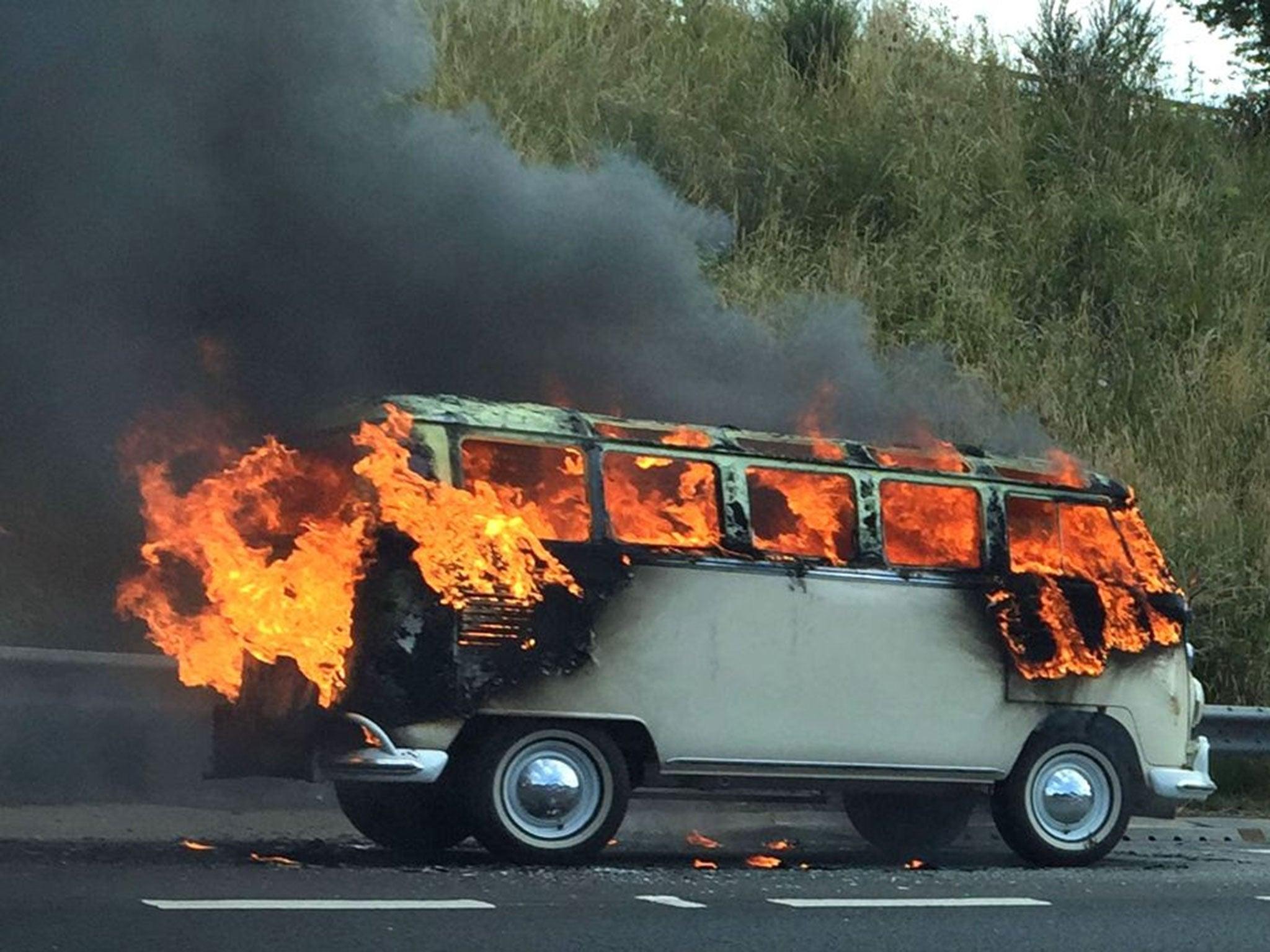 Image result for camper van on fire