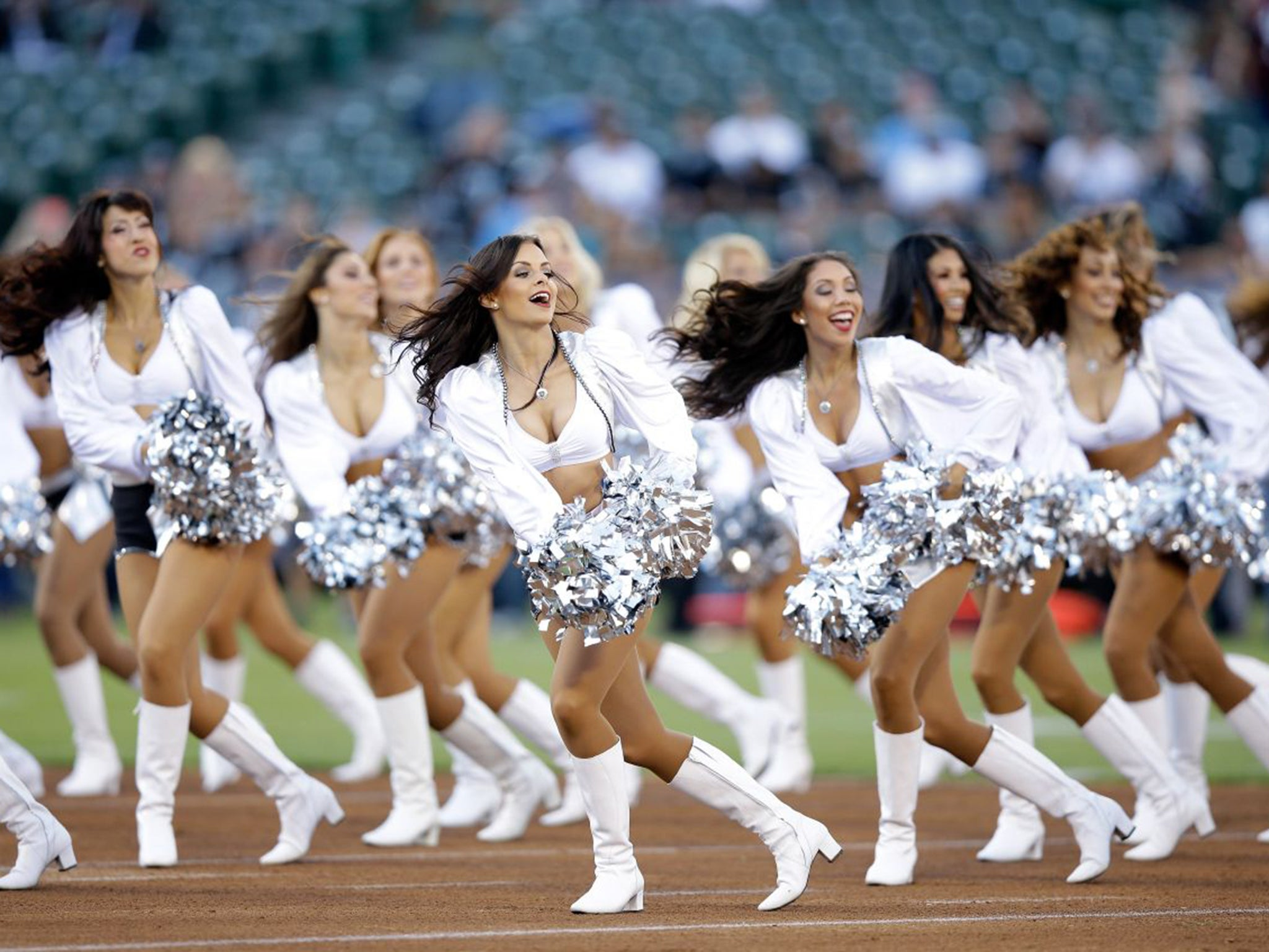 Oakland raiderettes cheerleaders celebrate new laws that mean oakland raiderettes cheerleaders celebrate new laws that mean they will be treated as employees the independent voltagebd Image collections