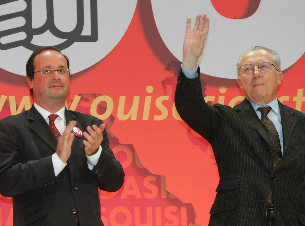 François Hollande, left, used the birthday of Jacques Delors, with whom he campaigned for a Yes vote in a 2005 EU referendum, to call for the currency bloc to move towards a federal system