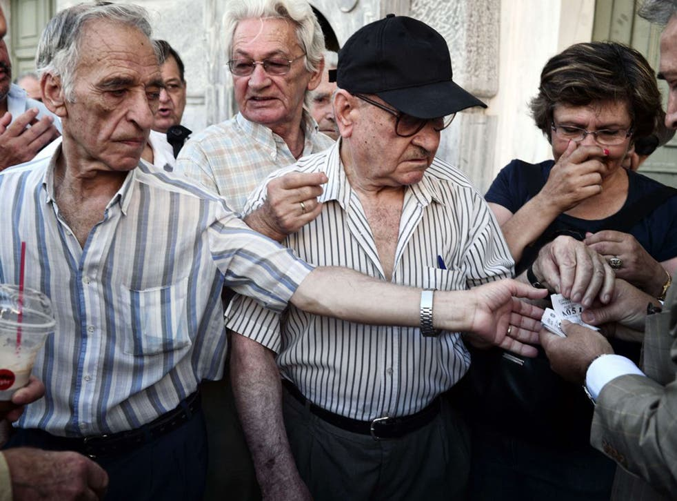 Elderly people received priority numbers as they queued for banks to re-open