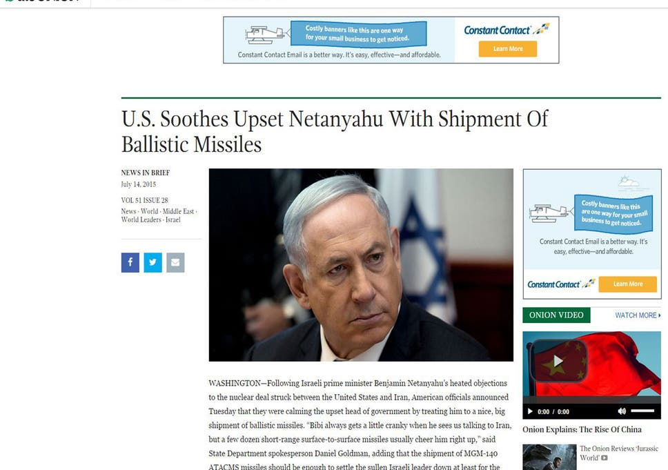 Iran Nuclear Deal Satirical Website The Onion Accidentally Breaks