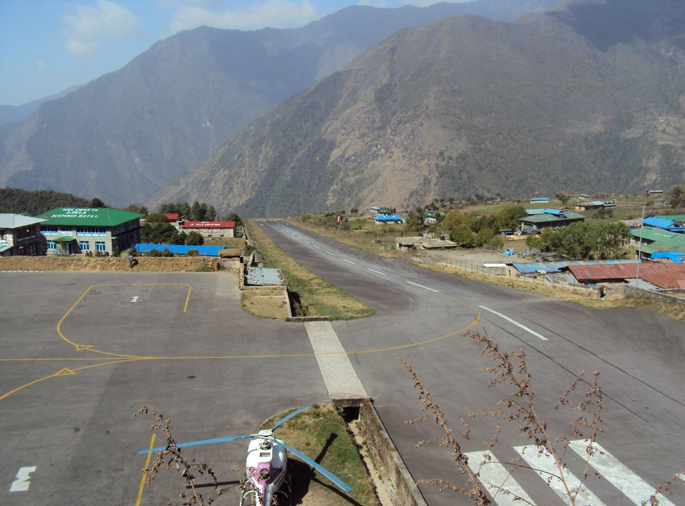 Pilots need to take caution at Tenzing-Hillary Airport in Nepal, what with the sloping runway (Picture: Wikimedia/Jeremy Broomfield)